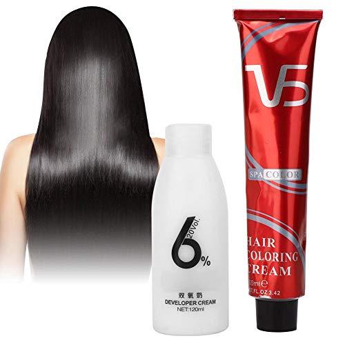 Crema para teñir el cabello Cabello de larga duración Cabello negro Azul Crema para tinte negro Popular Color brillante Tinte Crema para peróxido de cabello Crema para teñir el cabello(Negro natural)