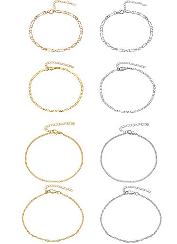Ankle Bracelets 8 Pieces Gold Silver Anklet Set for Women Girls Adjustable Chain Boho Anklets Beach Barefoot Foot Jewelry