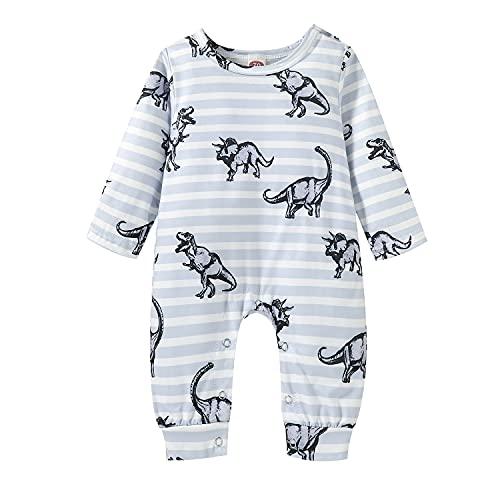 Alunsito Bebé niños niñas invierno mameluco de manga larga mono dinosaurio impreso ropa de dormir mono trajes azul 100 12-18 meses