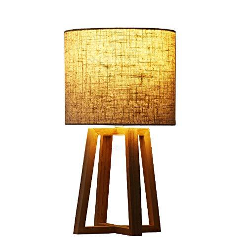 Liangsujiantd Flexo Led Escritorio, Lámpara de mesa de trípode de madera, lámpara de lectura de cabecera de mesa, madera clara creativa única, lámpara de mesa de escritorio LED 2 en 1, pantalla de tel