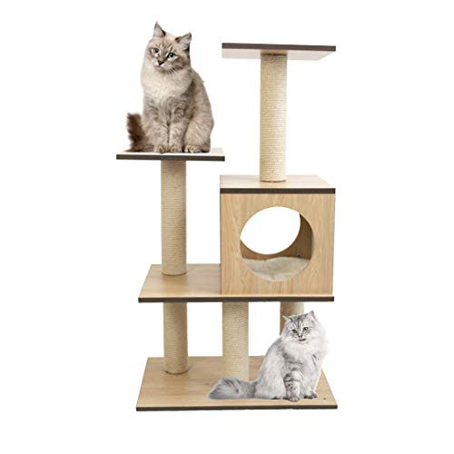 CUPETS 38 Inches Wooden Cat Tree Tower Modern Cat Climber Multiple Platforms Pet Products with Scratching Post, Activity Tree Pet Products for Cats