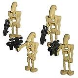 4er Set B1 Battle Droiden mit Blaster Waffen V.2 - modifizierte Custom Figuren des bekannten Klemmbausteinherstellers und somit voll kompatibel zu Lego