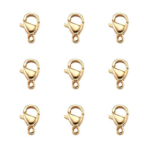 Beadthoven - 100 cierres de garra de langosta chapados en oro, 9 x 6 mm, acero inoxidable 304, cierre curvado, cierre de gancho, conector para pulsera, collar y joyería