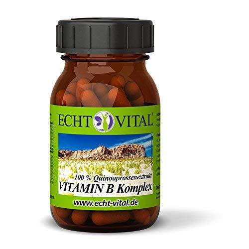 ECHT VITAL VITAMIN B KOMPLEX | alle 8 B-Vitamine | pflanzlich - aus Quinoasprossen | 60 Vit B Komplex Kapseln | ohne Magnesiumstearat | vegan & hochdosiert | laborgeprüft & hergestellt in Deutschland