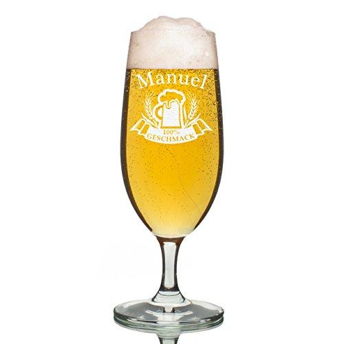 polar-effekt Leonardo Bierglas 0,3l - Pilstulpe Personalisiert mit Gravur - Motiv Bierkrug 100% Geschmack