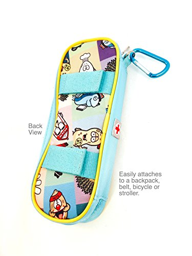 AllerMates - Allergy Medicine Carrying Case for EpiPen or Auvi-Q auto-injectors: Squares Pattern - Epipen Case Photo #2