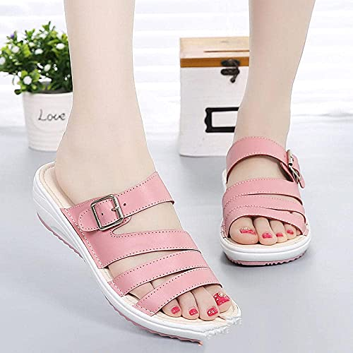 MISS KANG Pantuflas suaves de verano para mujer, cuña con sandalias gruesas, antideslizantes, planas, Moonlight_UK6, sandalias planas y suaves para interiores Qingchunw (color: rosa, tamaño: UK5.5)