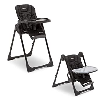 Jeep Classic Convertible 2-in-1 High Chair for Babies and Toddlers with Adjustable Height Recline & Footrest - Dishwasher Safe Meal Tray Midnight Black