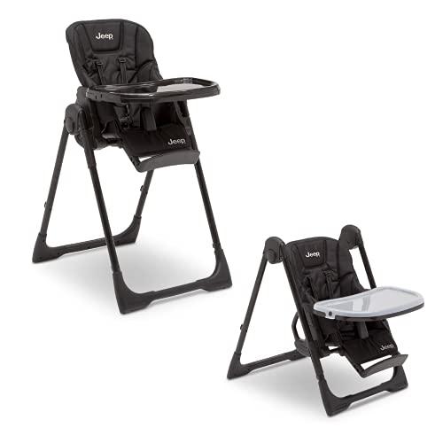 Jeep Classic conversível 2 em 1 cadeira alta para bebês e crianças com altura ajustável, reclinável e apoio para os pés – bandeja de refeição segura para lava-louças, preto escuro