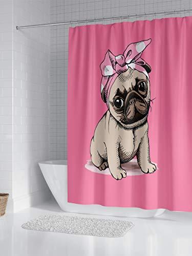 Marioshower Pinker niedlicher Duschvorhang für Welpen, Breite 180 * Höhe 200 (Dicke), 100% Polyester, wasserdichter und umweltfreundlicher Duschvorhang für Badezimmer, einschließlich Haken * 12