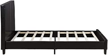 Home Décor Faux Leather Upholstered Platform Double Bed Frame Wood Slat Support Durable Faux Leathe Material(Black)