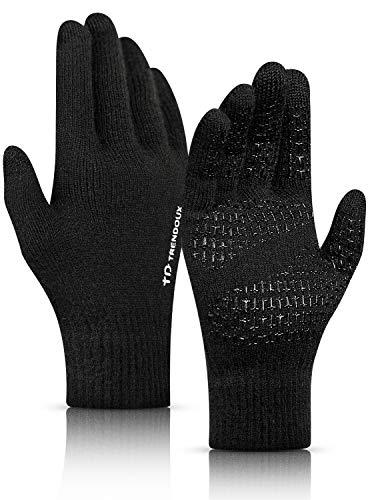 Men Gloves Winter, TRENDOUX Womens Touchscreen Glove Texting Phone Unisex - Driving Running Work - Anti-slip Grip - Elastic Cuff - Soft Knit Material - Winter Warm Glove for Cold Hands - Black - XL