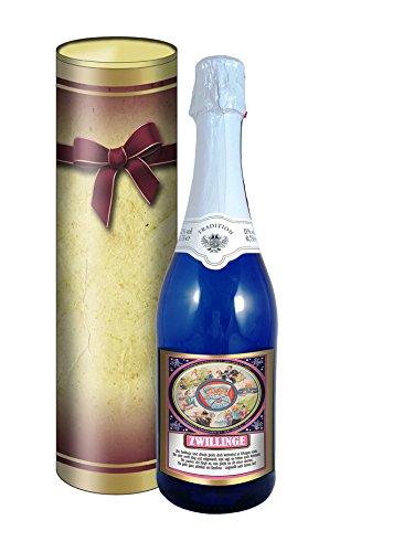 Sternzeichen Zwilling 0,75l Sekt (Mosel) blaue Flasche in der Geschenkdose im Schleifendesign