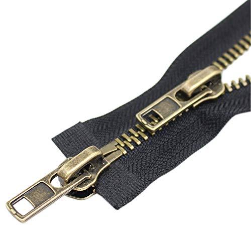 ByaHoGa 76,2 cm # 8 cremallera de dos vías separadora de la chaqueta de latón antiguo cremalleras de metal para chaquetas, abrigos de costura y manualidades (76,2 cm TW anti-latón)