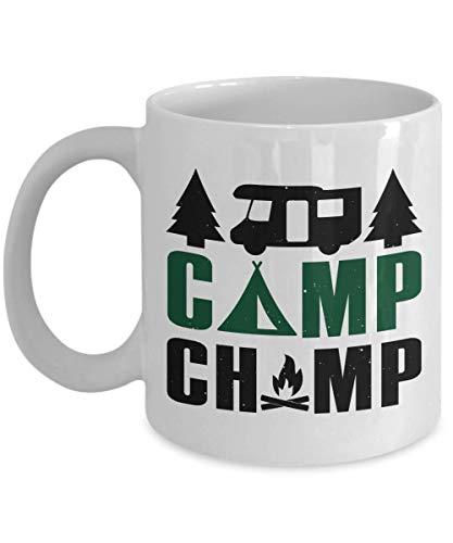 N\A Taza de café para Acampar, Camp Champ - Taza de café de Porcelana Blanca para campista, Camping, Aventura, al Aire Libre, Taza
