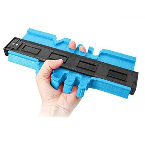 Cloverclover Multifunktions-Konturprofillehre, Laminatfliesen, Holzkantenform-Lineal, ABS-Konturlehre, 25CM, blau, 1