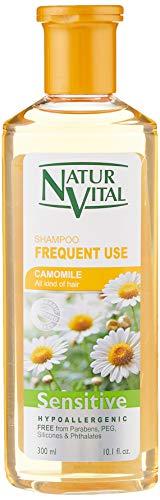 NaturVital Champú Sensitive Uso Frecuente Camomila (7349S), Amarillo, Floral, 300 Mililitros