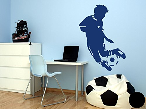 Klebefieber Wandtattoo Kleiner Fußballer B x H: 50cm x 90cm Farbe: Schwarz