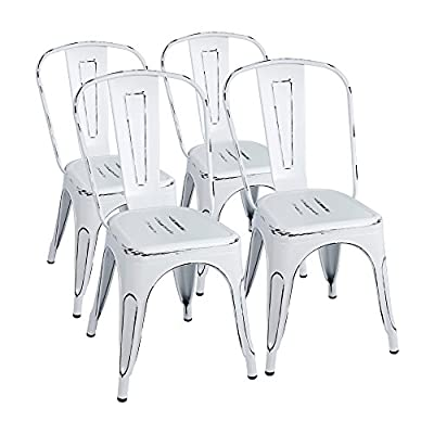 Furmax Metal Chairs Indoor/Outdoor Use Stackable Chic Dining Bistro Cafe Side Chairs Set of 4 (Distressed White) - Best home and restaurant chairs. All-around bistro,patio,café and restaurants chairs. Scratch and mar resistant steel with excellent polish finish. Assembly Required,Each metal chair has a X-brace under the seat that provides additional support and stability. - kitchen-dining-room-furniture, kitchen-dining-room, kitchen-dining-room-chairs - 41ZQBnoyFDL. SS400  -
