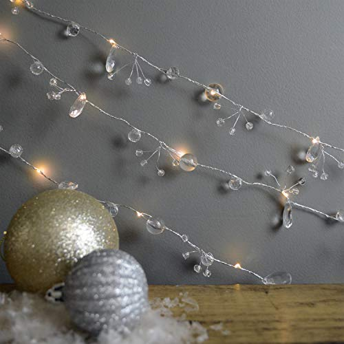 MARTHA STEWART Beaded Crystal Garland Light String, Battery Operated, 6 Feet, Clear Lights