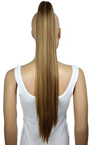 PRETTYSHOP Haarteil Zopf Pferdeschwanz glatt Haarverlängerung hitzebeständig wie Echthaar 70cm braun blond mix #6H27 H165