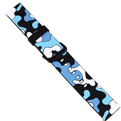 UKCOCO Pulseira de Silicone para Relógio Esportivo Substituição de Pulseira de Relógio de Camuflagem Profissional Pulseira de Pulseira Compatível para Polar Vantage M Grão X Azul 22 Mm