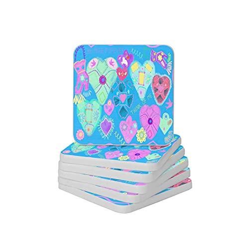 Juego de 6 posavasos absorbentes con forma de corazón dulce y antideslizante, para tipos de tazas y tazas