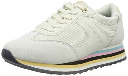 Tommy Hilfiger Tommy Stripe Retro Sneaker, Zapatillas para Mujer, Blanco (Off White 156), 40 EU