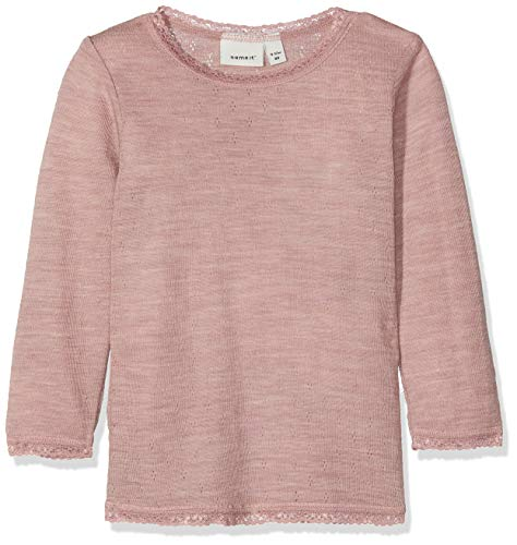 Name It Nmfwang Wool Needle Ls Top Noos T-Shirt À Manches Longues, Rose (Woodrose Detail: Solid), 95 (Taille Fabricant: 80) Bébé Fille