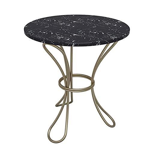 Mesa auxiliar moderna minimalista redonda pequeña mesa de café, mesa auxiliar creativa de mármol para oficina, sala de estar, zona de ocio, café (50 x 60 cm) (color blanco)