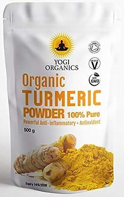 Yogi Organics Organic Turmeric Powder 1KG (2 x 500g Pouches) - Premium Quality from India - Grown on Naturally Organic Land in The Himalayas - Fresh Harvest.