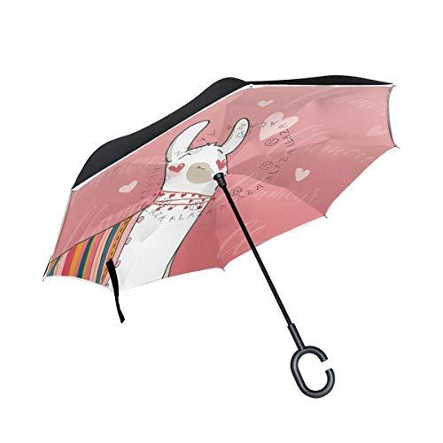 SKYDA Umgekehrter Regenschirm Lama im Cartoon-Stil (1) umgekehrte Regenschirme doppellagig Winddicht Regenschirm für Auto Regen Outdoor mit C-förmigem Griff