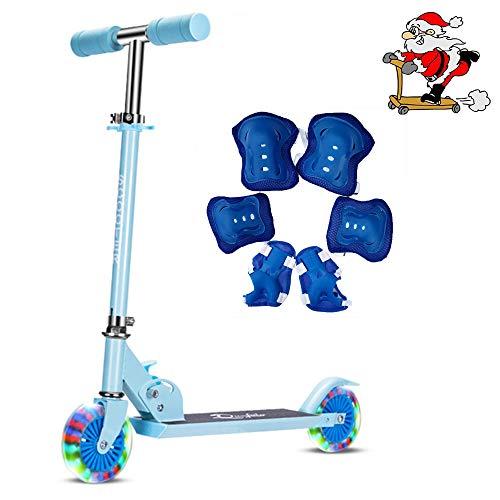 キックスクーター 子供用 キックボード スケートボード 二輪 折り畳み式 光るタイヤ ブレーキ付き スポーツ おもちゃ 誕生日プレゼントキックスクーター (ブルー)