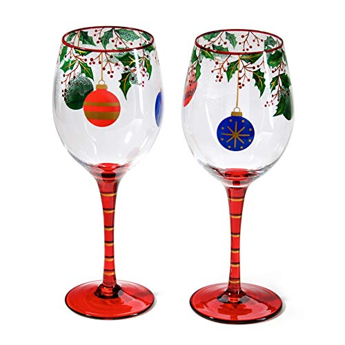 Bely Hand Painted Wine Glasses,Set Of 2,19oz,Ideal For Christmas