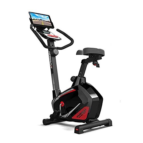 WJFXJQ Indoor Stationär mit Tischhalter 300 LBS Kapazität Radfahren BikeHome Mute Heimtrainer Magnetic Upright Heimtrainer for Heim Cardio Workout