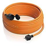 Brandson - Rallonge extérieure 3500W - 3 Fils - Utilisation extérieure - 50m (mètres) - IP44 avec fiche Schuko - Rallonge électrique - 230V - avec Capuchon de Protection - Câble électrique extérieur