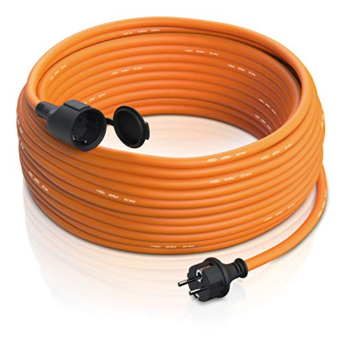 Brandson - Cable alargador Exterior de 3500 W - 3 Hilos - Uso Exterior - 50 m (Metros) - IP44 con Enchufe Schuko - Extensión de alimentación - 230 V - con Tapa Protectora - Cable eléctrico Exterior