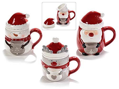 Gruppo Maruccia Tazas para infusiones e infusiones con forma de personajes navideños, juego de tres tazas, idea regalo para la Navidad