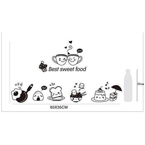 Adhesivo decorativo para pared, diseño de comida dulce, para decoración de restaurante y decoración del hogar, postres de huevo frito, pan y huevos fritos, color XH0120