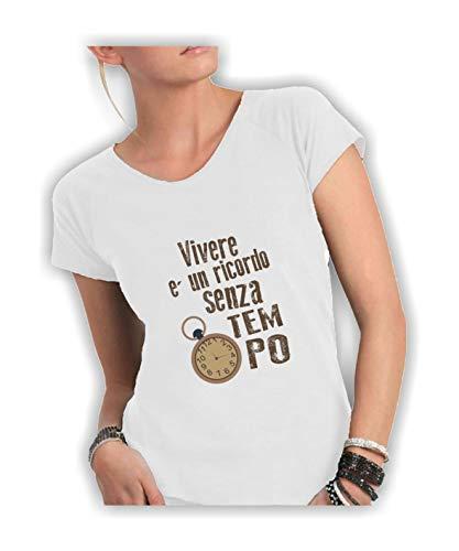 Social Crazy T-Shirt Donna Cotone Fiammato Scollo Ampio a Taglio Vivo - Vivere è Un RICORDO Senza Tempo Canzoni Divertenti Humor Made in Italy (S, Bianco)