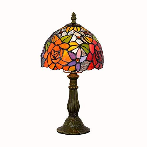 DIMPLEYA Tiffany TAFTY - Lámpara de mesa de cristal tintado con placa de luz rosa y flor