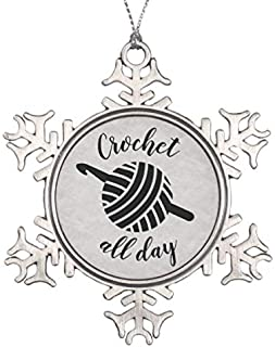 Vehfa Decorations Personalized Ornament Crochet All Day Yarn Ball & Hook Crafts Snowflake Pewter Christmas Ornament