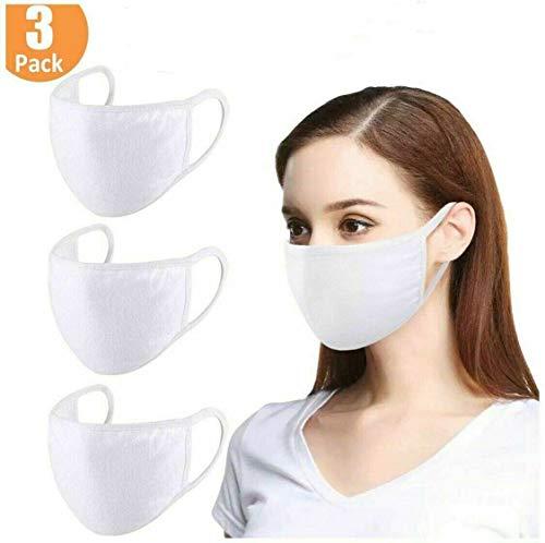 3 pcs White Cloth Face Covers – 100% Cotton, Washable, Reusable Cloth Masks – Protection from Dust, Pollen, Pet Dander,...