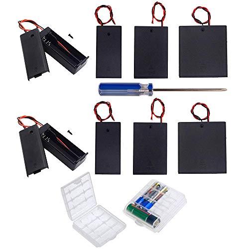 GTIWUNG 10Pcs AA 1.5V/3V/4.5V/6V batería Titular Caso Caja de Almacenamiento de la batería de plástico con Interruptor ON/Off, DIY AA Caja de Pila, Portapilas con Cables de Interruptor
