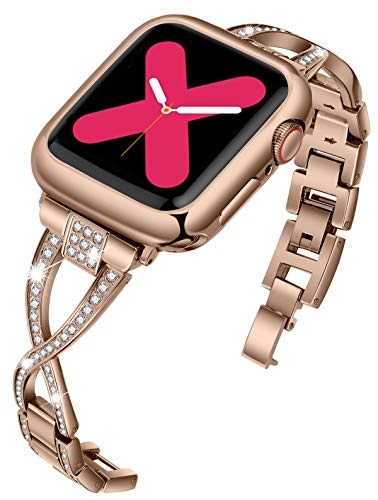 JFdragon Watch Bands Compatible with Apple Watch 38mm 40mm 42mm 44mm Series 5 4 3 2 1 Women Jewelry Metal Wristband Strap with Bling Diamond Replacement Bracelet (Bronze Gold,38mm/40mm)
