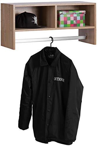 ts-ideen landelijke stijl muur hal garderobe garderobe stang hout eiken sonoma + 2 vakken