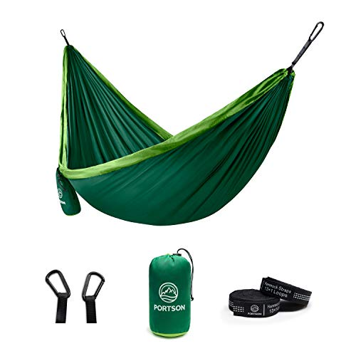 Portson Double Hammock with Tree Friendly Straps, Camping, Travel, Hiking, Backpacking, USA Brand...