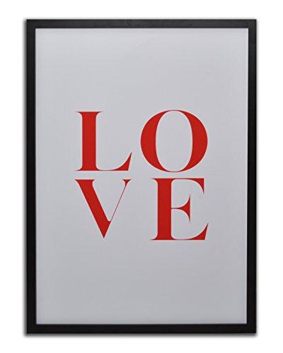 GAD M3238 wandfoto, motief: rode opschrift Love op witte achtergrond
