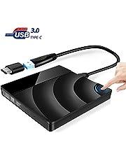 Grabadora CD DVD Externa,Unidad USB 3.0 & Versión Actualizada Tipo-C,Control Táctil Portátil CD DVD +/-RW Quemador Jugador Lector Compatible Laptop Desktop Windows XP/Vista /7/ 8/10,Linux/Mac OS