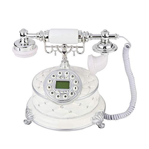 LDDZB Teléfono retro vintage, estilo antiguo, teléfono fijo con cable con botón para decoración del hogar y la oficina (blanco)